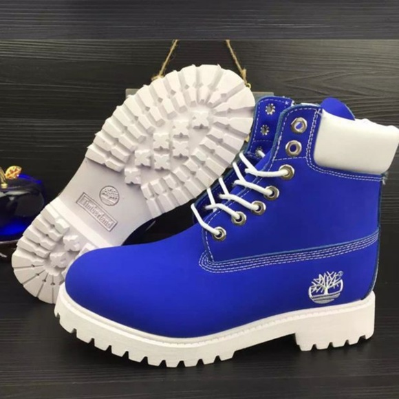 Timberland Shoes   Blue And White